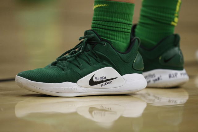 Oregon guard Sabrina Ionescu (20) wears a pair of Nike basketball shoes with a tribute to Kobe Bryant on the midsole in the first half of an NCAA college basketball game Saturday, Feb. 1, 2020, in Boulder, Colo. (AP Photo/David Zalubowski)