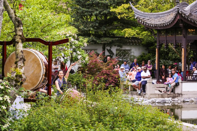 people watch portland taiko perform at lan su chinese garden to celebrate asian pacific american - Chinese Garden Portland