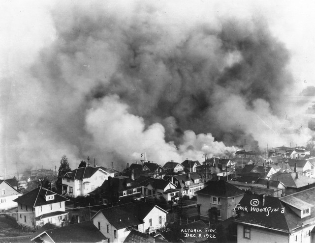 The Astoria fire of 1922 blazed through the city's wooden downtown, eventually destroying as many as 30 blocks and leaving 2,500 homeless. Photo by Frank Woodfield, December 8, 1922.