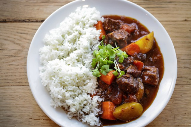 Soul Kitchen's Hayashi Beef Stew is made with pasture-raised beef and local vegetables, flavored with chocolate, honey and soy and served with steamed short-grain white rice.