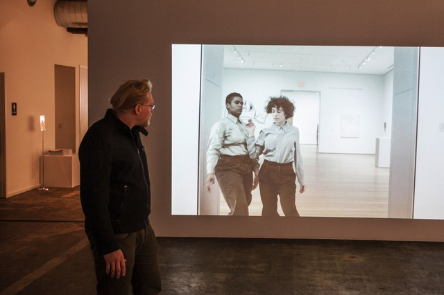 Jeff Jahn in the gallery space at PICA where Andrea Geyer's Three Chants Modern video installation will run through June 21, 2014.