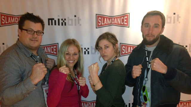 Team Glena at the Slamdance Festival in Park City, Utah: From left to right: Producer Josh Leake, star Glena Avila, Executive Producer Ashley Scherman and Director Allan Luebke