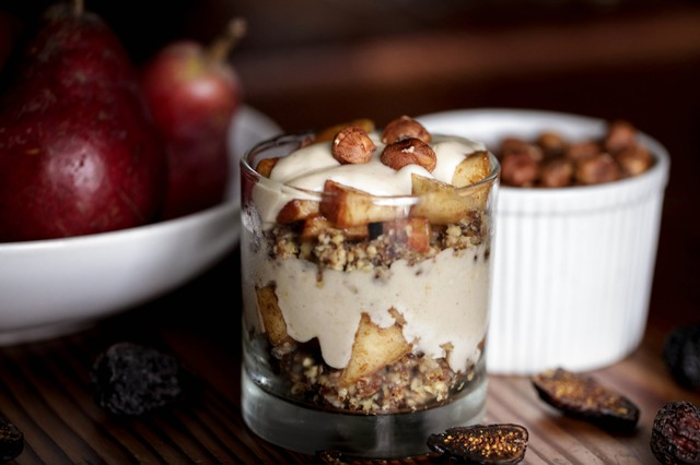 Eatin' Alive's recipe for gluten-free, raw Hazelnut Pear Parfaits With Cardamom Cream can be prepared as single servings or a cobbler-type dish to be sliced. Substituting coconut ingredients for honey makes it vegan.