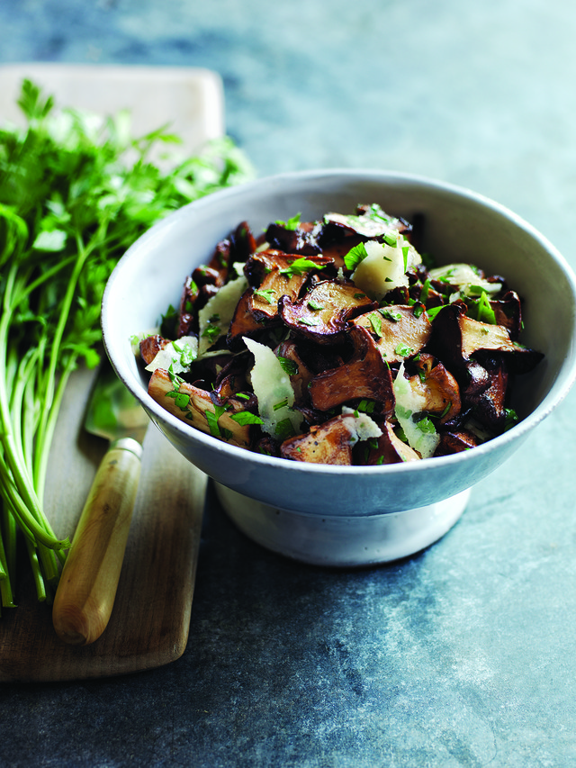 """Pan-Seared Wild Mushrooms with Parsley and Parmesan from """"Taste & Technique"""" by Naomi Pomeroy of Beast restaurant in Portland"""