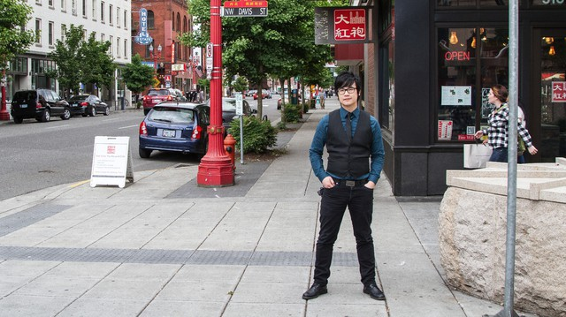Simon Tam outside of The Red Robe Tea house, a few blocks from his office in Portland's Chinatown