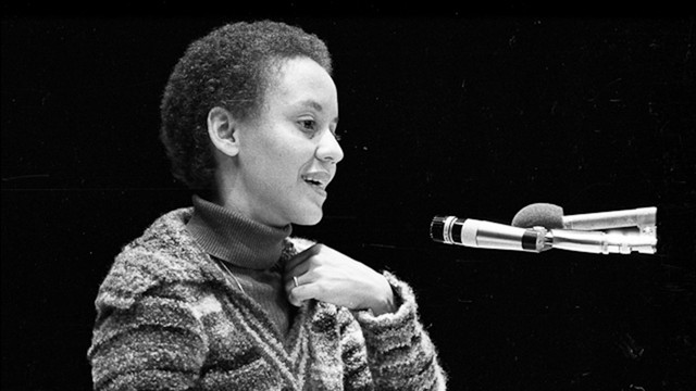 Nikki Giovanni giving a lecture in the 1970s