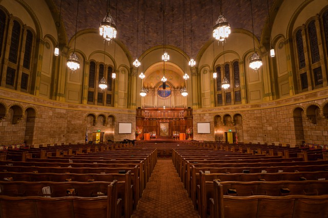 An empty interior of the Temple at Congregation Beth Israel in Portland, Ore.