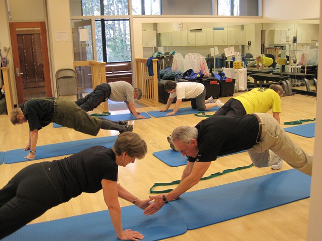 """Martin (Marty) and Sarah Horeis participate in the """"Exercising Together"""" class run by OHSU research professor Kerri Winters-Stone. Marty is 76 and Sarah is 71."""