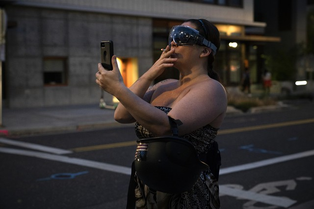A far-right activist live streams verbal fights anti-ICE demonstratorsin front of the Portland ICE office on July 17. 2019 in Portland, Oregon.