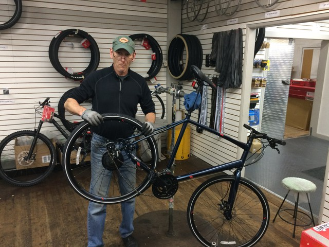 Mark Lipchick builds and repairs bikes at Hutch's Bicycles in Eugene.