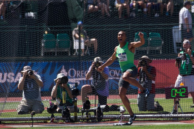 Ashton Eaton screams on the follow-through of his throw during the discus portion of the decathlon at the 2016 U.S. Olympic Track And Field Trials at Hayward Field in Eugene, Oregon, on Sunday, July 3, 2016.