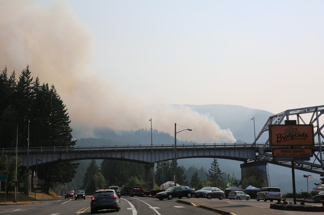Smoke from the Eagle Creek Fire can be seen just past the Bridge of the Gods in Cascade Locks, Oregon.