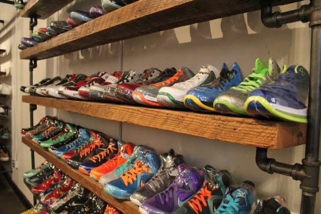 A shelf of shoes at specialty sneaker store Index.