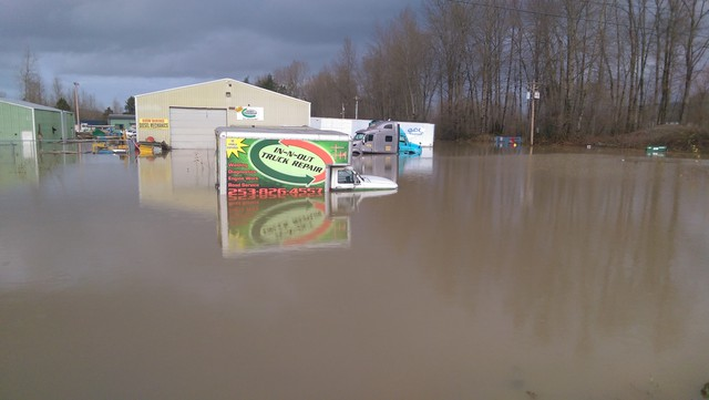 SR 127 in south King County, Wash., Dec. 9, 2015. Many roads are flooded and closed, making it difficult for our crews and equipment to get into certain areas.