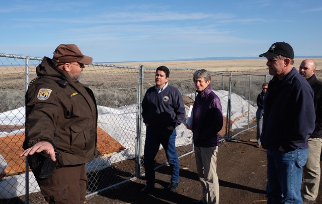 Malheur refuge law enforcement officer John Megan gives U.S. Secretary of the Interior Sally Jewell, Refuge Manager Chad Karges and Deputy Secretary Mike Connor a tour of the Malheur National Wildlife Refuge on March 21, 2016.