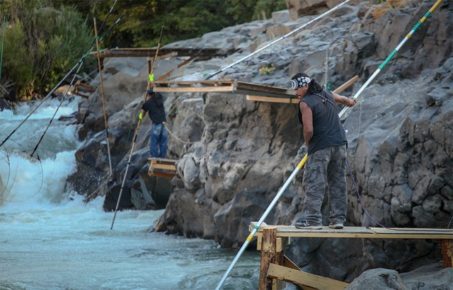 Tribal fishermen use dip nets to fish from platforms at Lyle Falls. Platforms are maintained and improved by the fishermen throughout the year.
