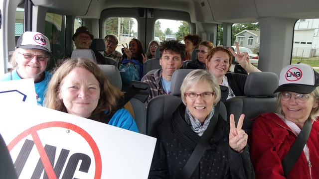 Climate activists traveled from Eugene to Coos Bay to speak out at a public meeting for the Jordan Cove LNG project.