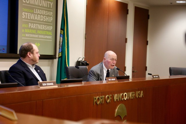 Vancouver Port Commissioners Eric LaBrant and Jerry Oliver. Commissioners voted unanimously to end the lease with Vancouver Energy on March 31, if the company did not have all necessary permits by then.