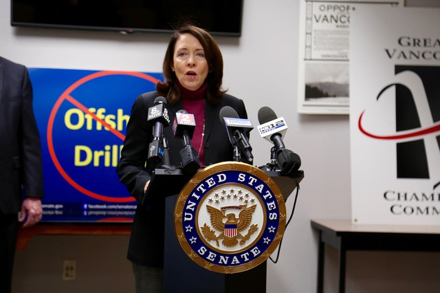 U.S. Senator Maria Cantwell stopped in Vancouver to sound the alarm on offshore drilling in waters off Washington.