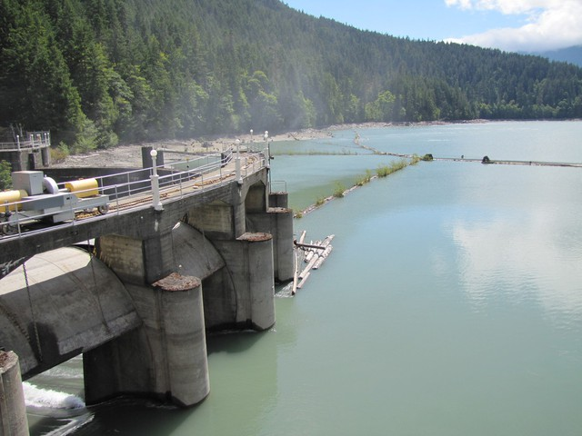 The 210-foot-tall Glines Canyon Dam.