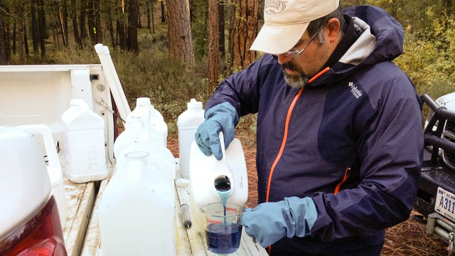 Mike Crumrine adds dye to an herbicide mixture so that he can see where he applies it. Crumrine is applying herbicides to an invasive plant, ribbon grass, that is choking Oregon's Metolius River.