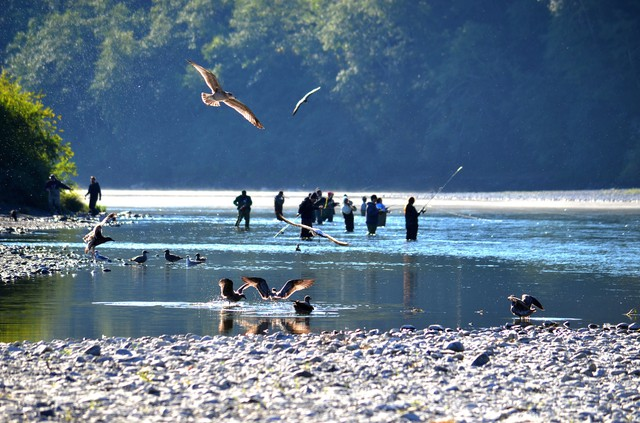People fishing on the lower Klamath River in Northern California.