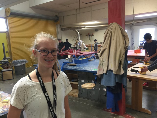 Eighth grade student Kristie Anderson stands in the wood shop at Sunridge Middle School in Pendleton.