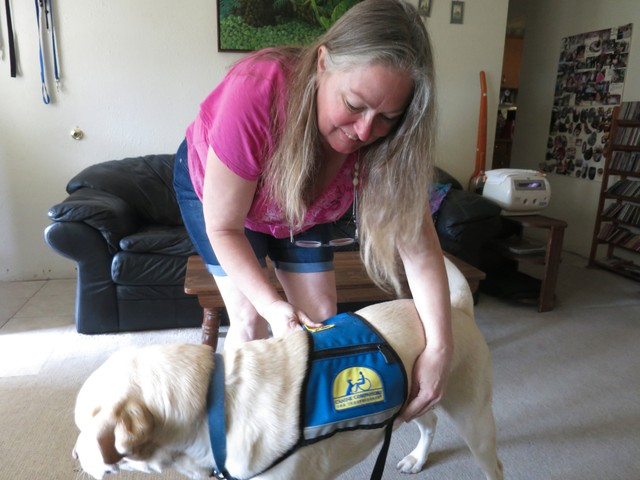 Berverly McNutt needs help lifting and clothing her daughter. Some of that help comes from canine companion Merv.