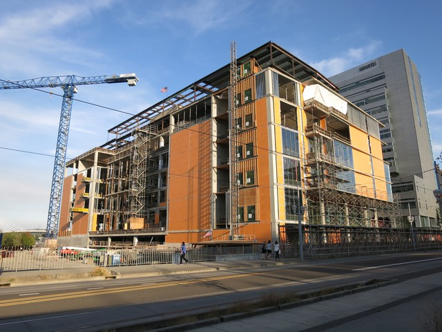 The $190 million new Knight Cancer Institute is rising out of the brownfield just south of I-5 along the Willamette.