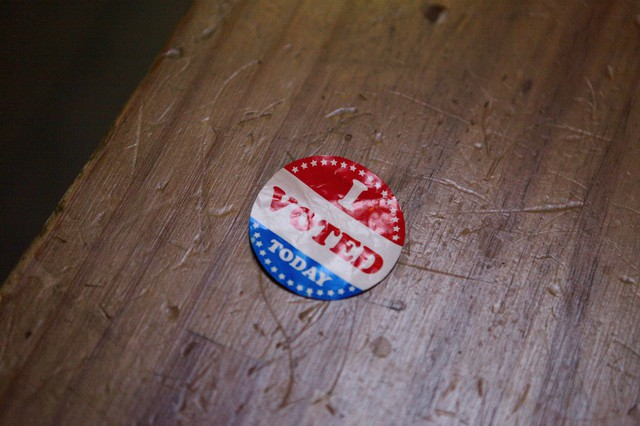 "An ""I Voted"" sticker from the May 17 Oregon primary election."