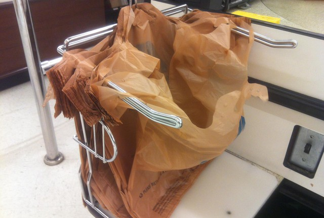 Plastic bags at a grocery store check out.