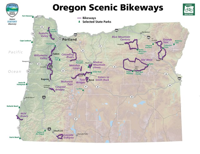 There are 14 official state scenic bikeways in Oregon. Some are multi-day tours for experienced cyclists, others are short, family-friendly routes.
