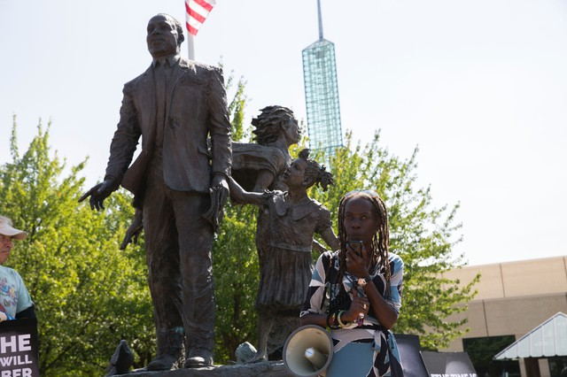 Portland's NAACP President Jo Ann Hardesty in front of the Martin Luther King Jr. statue on Aug. 12, 2017.