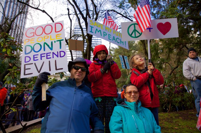 Jason, Lilu, Michele and Gryphon Ray at the March For Impeachment at Terry Schrunk Plaza in downtown Portland.