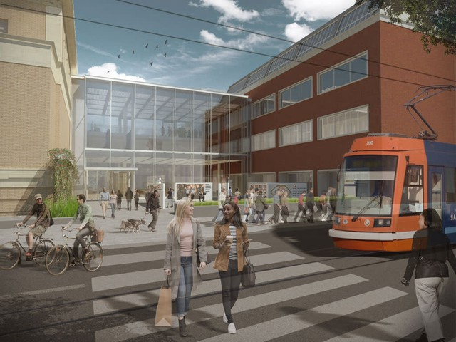 Early renderings of the Rothko entrance from 10th Street and the streetcar stop.