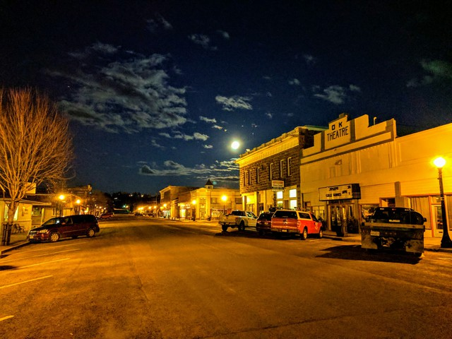 The historic OK Theater sits in the heart of Enterprise, OR, population 1,900.