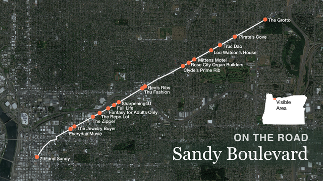 Our route down Sandy Boulevard.