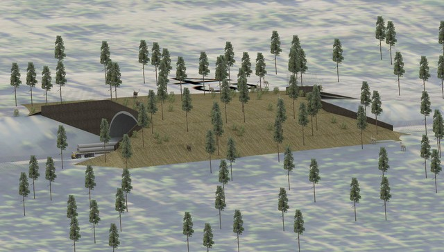 An illustration shows how a second wildlife crossing would be built as a bridge for animals.