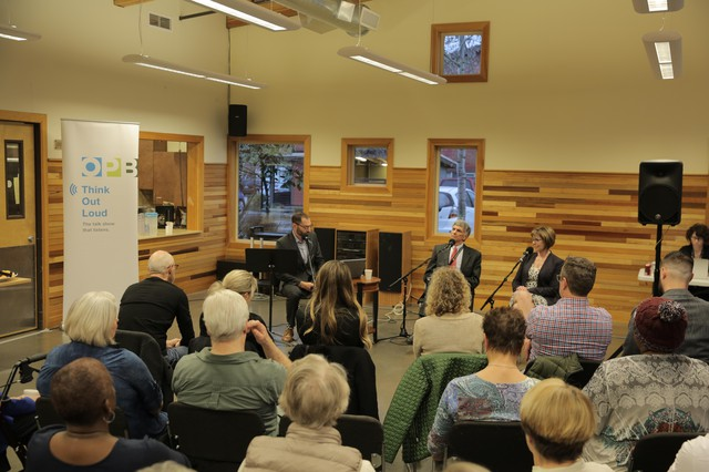 """""""Think Out Loud"""" host Dave Miller discusses the child welfare system with Oregon Department of Human Services Director Fariborz Pakeresht and Director of Child Welfare Marilyn Jones in front of a live audience at Bridge Meadows in Portland on March 27, 2019"""