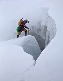 Eddy Cartaya prepares to enter a cave during a mid-winter visit to the Sandy Glacier.