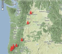 A map by the Northwest Interagency Coordination Center shows the major fires of the Northwest.