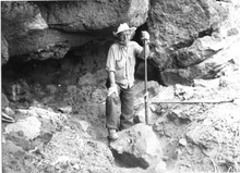 In 1966, Luther Cressman at Fort Rock Cave.