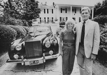Judy and Pete Kershaw in front of their Lake Oswego home in 1983