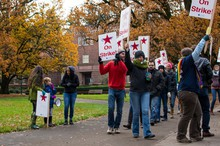 Graduate Teaching Fellows continued to strike on Wednesday, Dec 3, 2014 after their demands were not met by the University of Oregon administration.