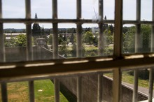View from the chapel library at the Oregon State Penitentiary.
