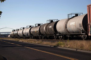 Oil tanker train cars sit idle next to the oil terminals in Northwest Portland. A city fossil fuel ordinance barring major expansions of those terminals survived a challenge to the Oregon Supreme Court.
