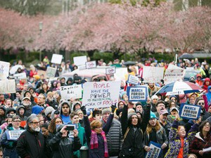 Over 3,000 people gathered outside of the Oregon State Capitol for the March for Our Lives rally on Saturday, March 24, 2018. The student-led event called for stricter gun laws in the wake of the Parkland, Florida, shooting.