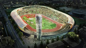 An artist's rendering shows the new Hayward Field design, including a nine-story Bowerman Tower near the northeast entrance. Construction begins in June 2018.