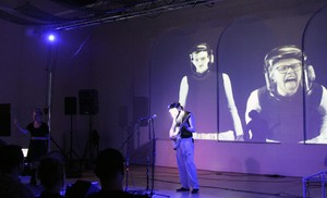 Myles de Bastion, of CymaSpace, in a performance at the Art Gym.