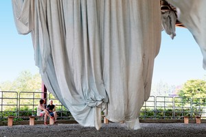 Artist Anne Hamilton, onsite during installation of habitus, at Centennial Mills, for Converge 45.